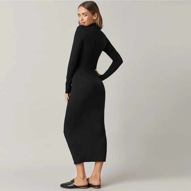 Black High Neck Solid Bodycon Maxi Dress