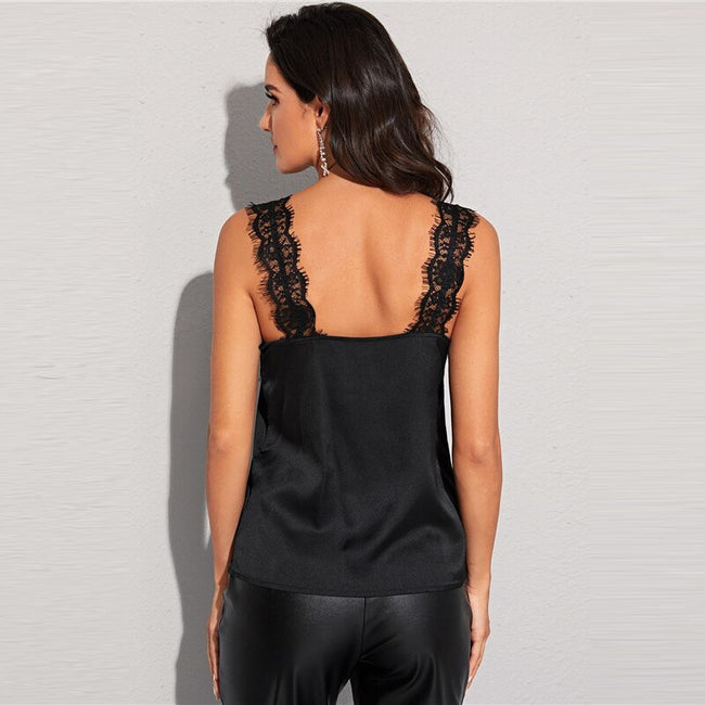 Black Guipure Lace Panel Cami Top