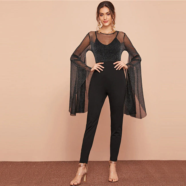 Black Exaggerated Flounce Sleeve Glitter Mesh Bodice Jumpsuit