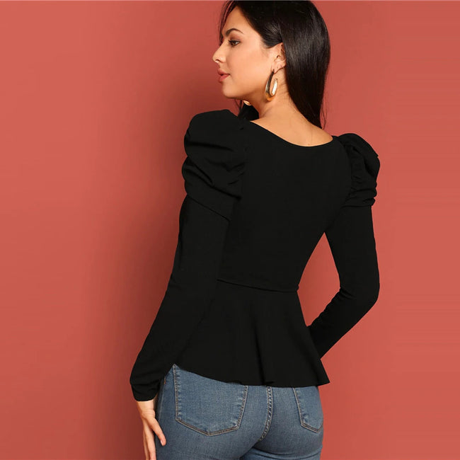 Black Square Neck Puff Sleeve Peplum Blouse