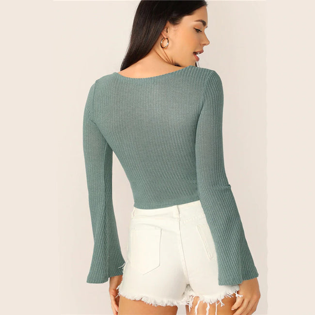 Turquoise Shirred Drawstring Bell Sleeve Crop Top