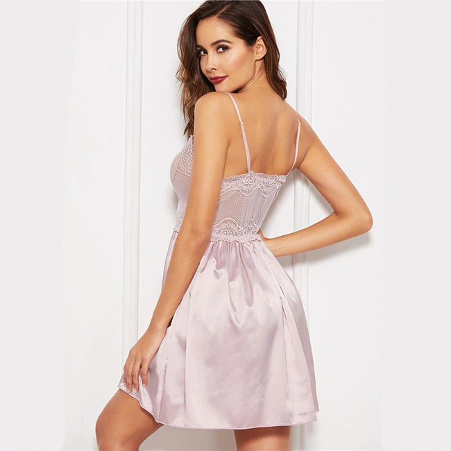 Pink Solid Contrast Lace Sexy Cami Nightgown
