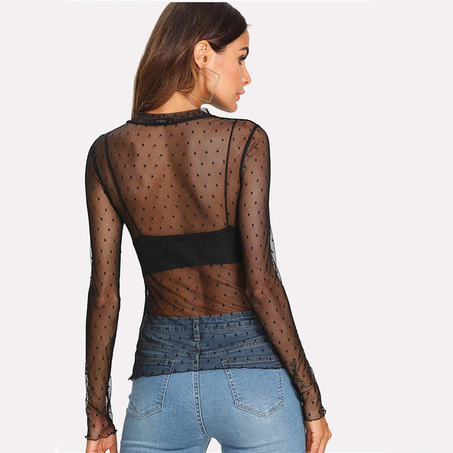Black Lettuce Edge Dobby Mesh Top