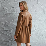 Brown Roll Up Sleeve PU Leather Mini Dress