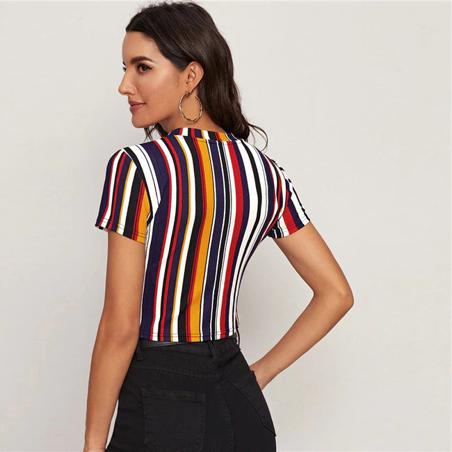 Multicolor Form Fitted Striped Crop T-Shirt