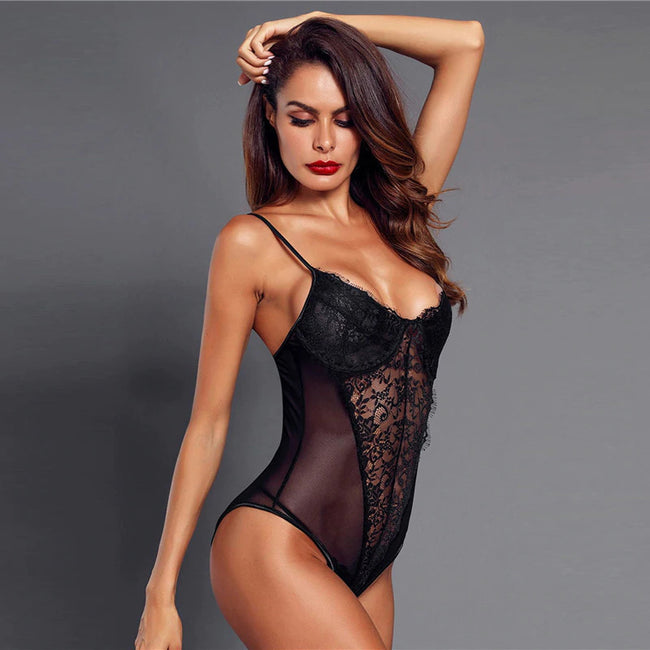 Black Eyelash Lace Mesh Teddy Bodysuit