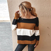 Multicolor Cut and Sew Panel Women's Sweater