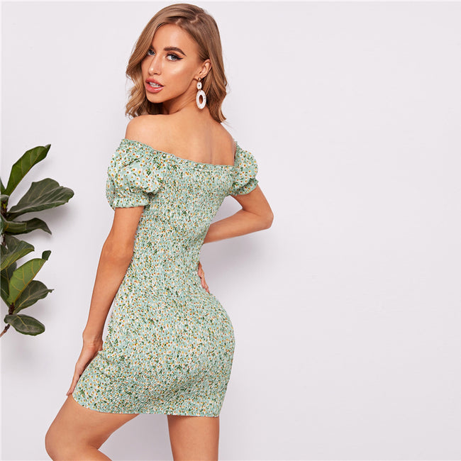 Off Shoulder Tie Neck Shirred Back Bustier Summer Dress