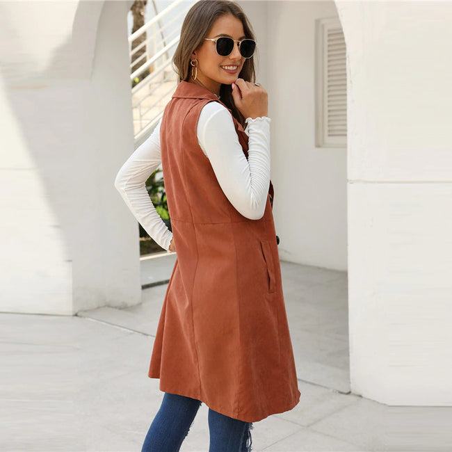 Brown Solid Double-Breasted Waterfall Collar Coat
