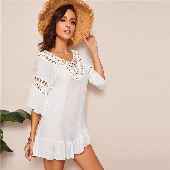 White Tassel Tie Back Pompom Backless Crochet Insert Mini Dress