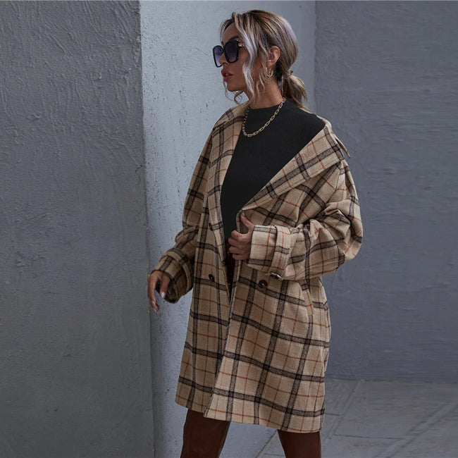 Khaki Peak Collar Slant Pocket Plaid Pea Coat