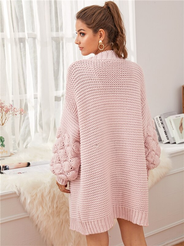 Pink Drop Shoulder Bishop Sleeve Chunky Knit Cardigan