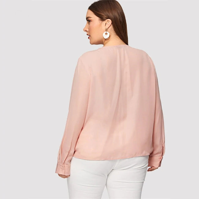 Plus Size Pink Solid Deep V Neck Casual Blouse