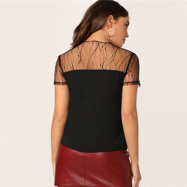 Black Vine Mesh Yoke Trim Women's Top