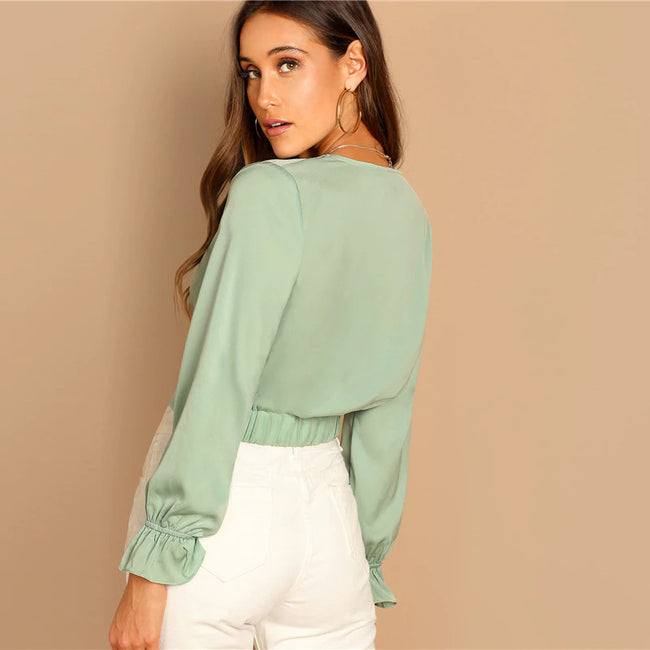 Green Deep V-Neck Twist Sexy Crop Blouse