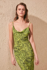 Green Funnel Collar Dress