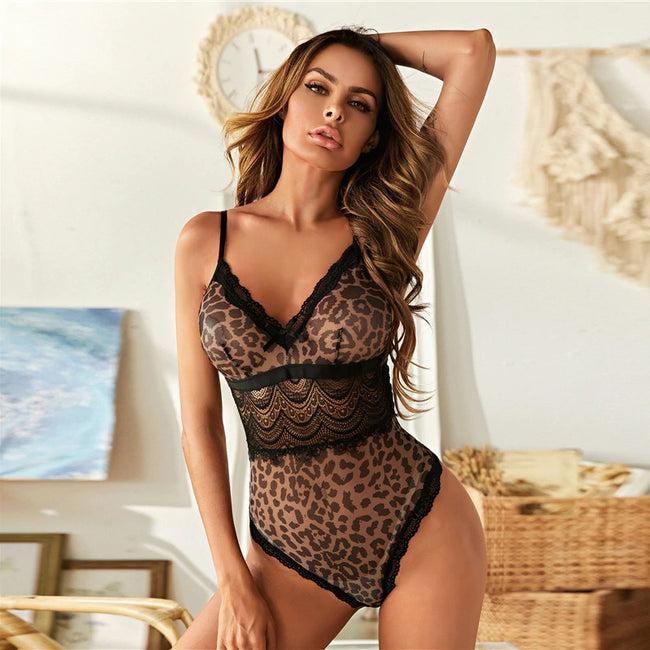 Allover Graphic Mesh Floral Lace Teddy Sleepwear Bodysuit