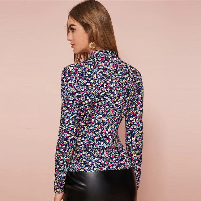 Mock-Neck Ditsy Floral Print Fitted Top