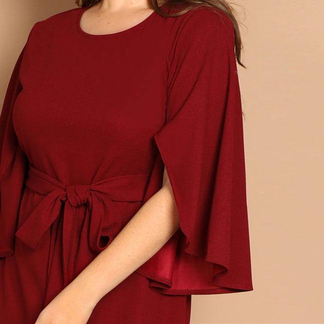 Burgundy Solid Split Sleeve Tie Waist Bodycon Midi Dress