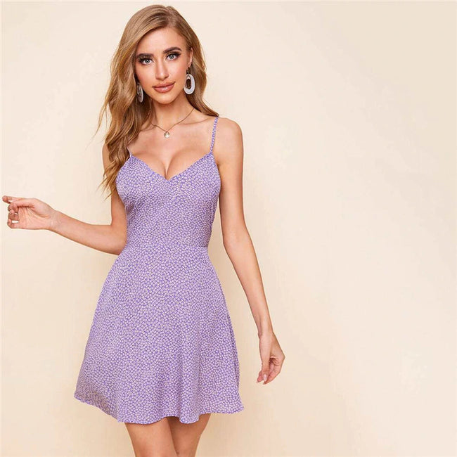 Lilac Purple Cutout Tie Back Ditsy Floral Slip Dress