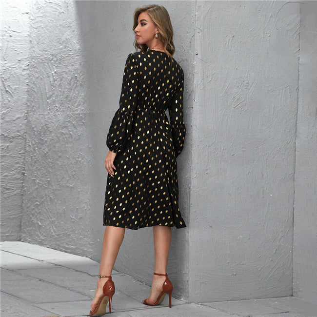 Black Lantern Sleeve Gold Dot Print Button Front Midi Dress