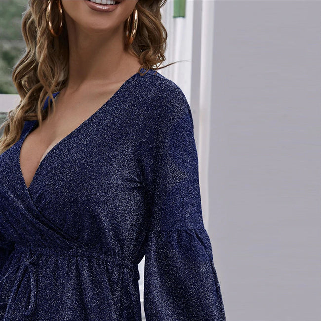 Navy Blue Surplice Neck Lantern Sleeve Glitter Dress