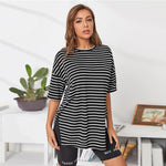 Black Drop Shoulder Split Side Striped Top