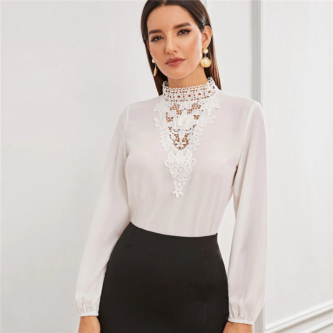 White Solid Lace Insert Stand Collar Keyhole Back Top