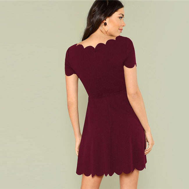 Maroon Solid Scallop Trim Sweet Dating A Line Dress