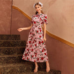 Abaya Pink Tie Neck Puff Sleeve Pleated Floral Dress