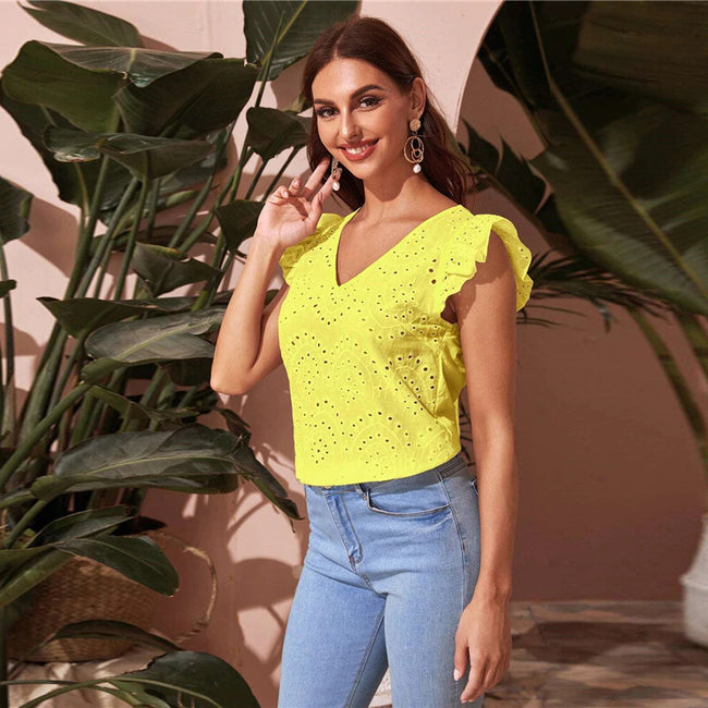 Yellow Ruffle Armhole Solid Schiffy Top