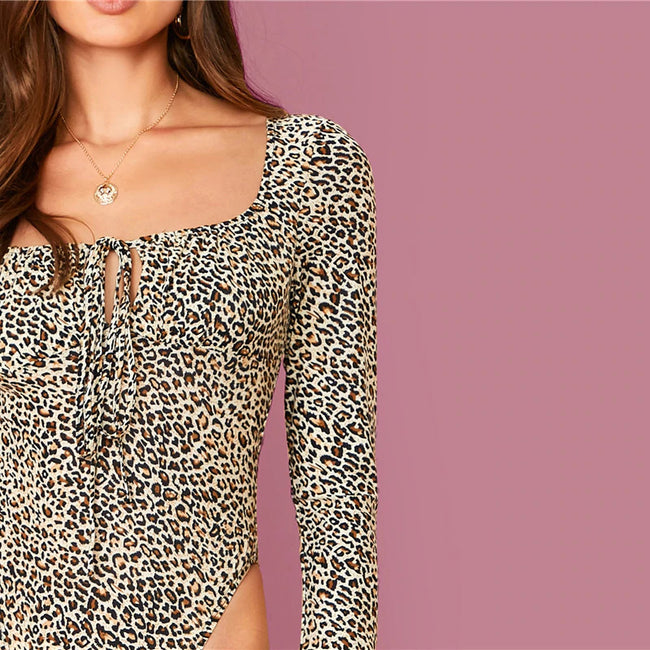 Multicolor Tie Neck Leopard Bodysuit