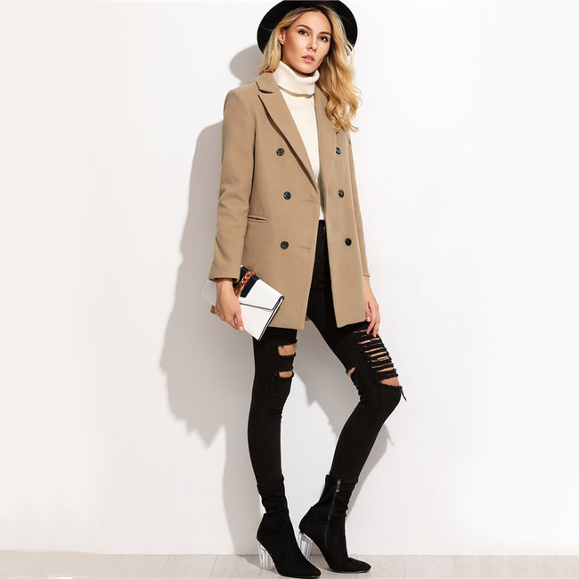 Camel Double Breasted Winter Women's Coat