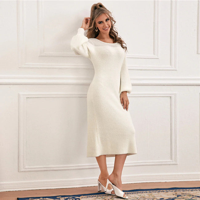 White Bishop Sleeve Solid Sweater Dress