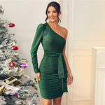 Green Glitter One Shoulder Tie Front Bodycon Dress