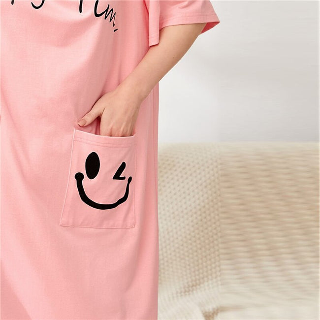 Pink Letter and Cartoon Graphic Pocket Patched Long Nightdress