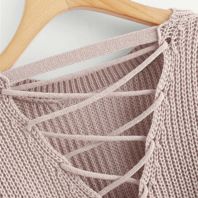 Pink Korean Criss Cross V-Back Knitted Women's Sweater