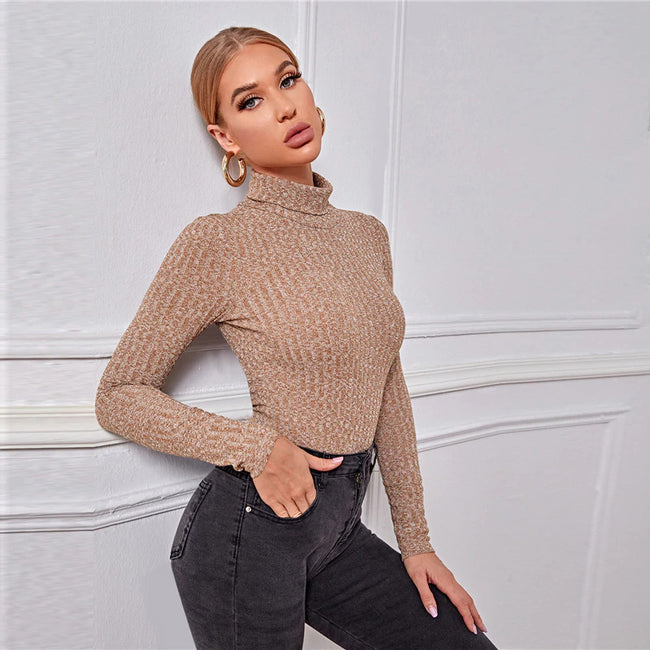 Apricot Rolled High Neck Fitted Rib-Knit Bodysuit