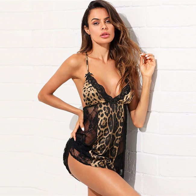 Open Back Leopard Lace Insert Nightgown