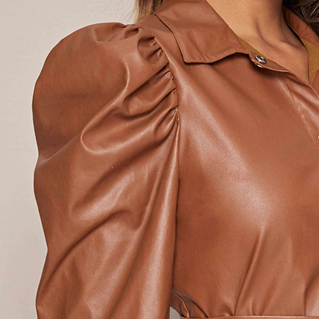 PU Leather Brown Casual Jacket