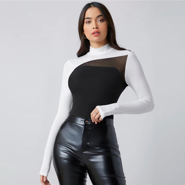 Mock Neck Contrast Mesh Colorblock Top