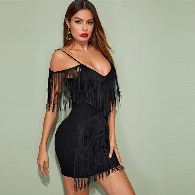 Black Plunging Neck Layered Fringe Cami Bodycon Mini Dress