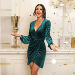 Dark Green Velvet Surplice Front Tulip Hem Dress