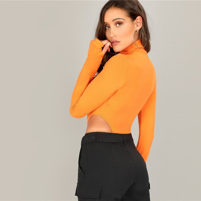 Neon Orange High Neck Fitted Skinny Bodysuit