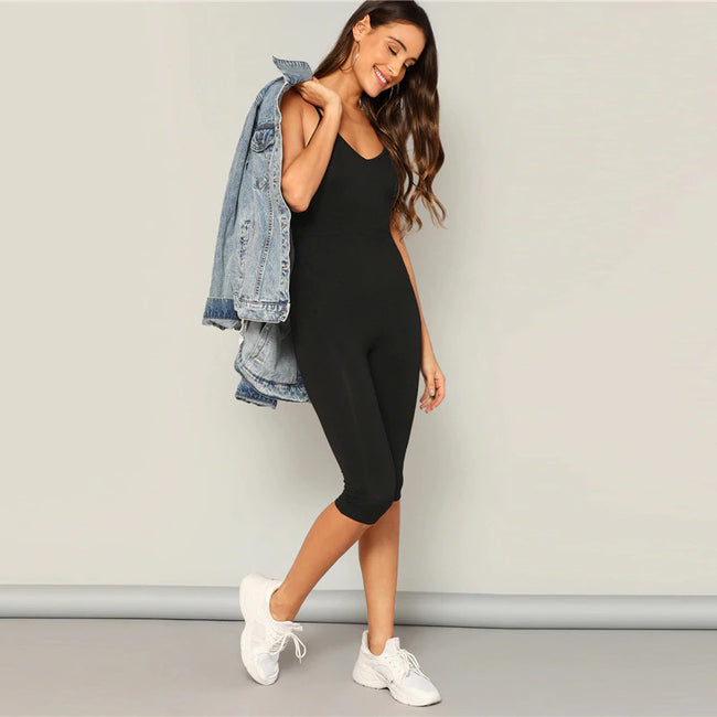 Black Solid Skinny Cami Jumpsuit
