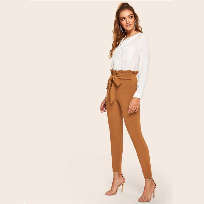 Camel Solid Frill Trim Bow Knot Tie Waist Pants