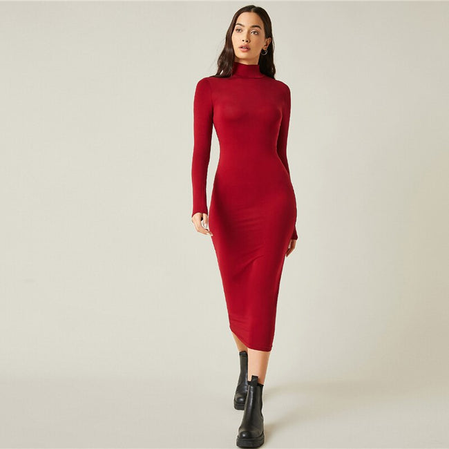 Bright Burgundy High Neck Solid Bodycon Maxi Dress