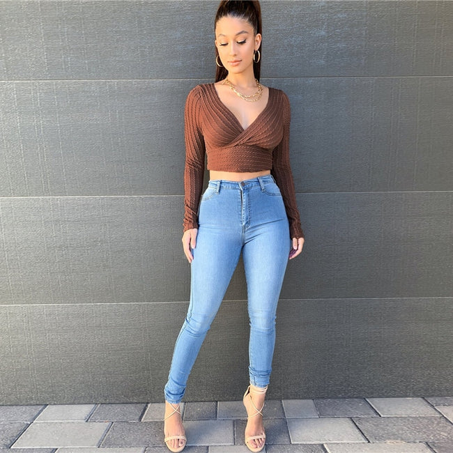 Rust Brown Surplice Neck Cable Knit Crop Top