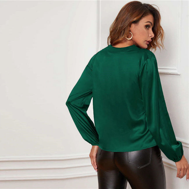 Green V-neck Lantern Sleeve Satin Blouse