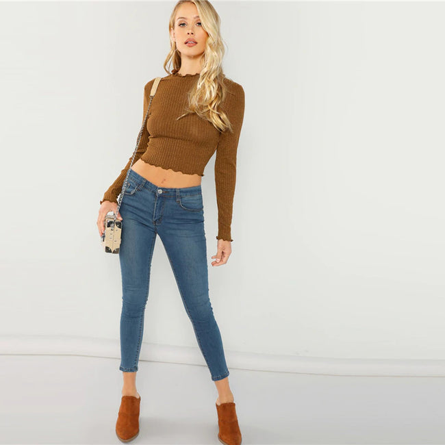Brown Lettuce Trim Crop Top